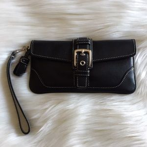 Coach Black Leather Wristlet Wallet